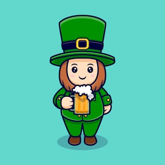 Leprechaun mignon, boire de la bière, personnage de dessin animé saint patrick
