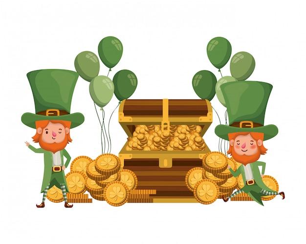 Leprechauns avec coffre et monnaies