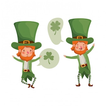 Leprechauns avec personnage avatar bulle