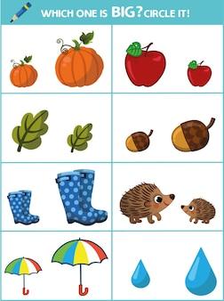 Lequel est grand circle it page éducative pour les enfants illustration vectorielle