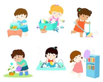 Les enfants font le ménage illustration vectorielle définie.