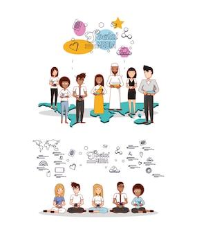 Les gens de différents groupes ethniques avec des icônes de médias sociaux