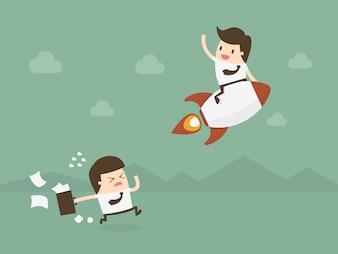 Les hommes d'affaires avec une fusée