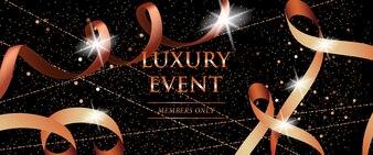 Les membres de l'événement de luxe seulement la bannière de fête avec des rubans enroulés
