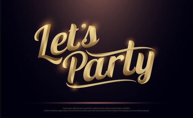 Let's party logo d'or