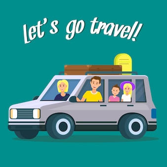 Lets go travel square banner. parents et enfants