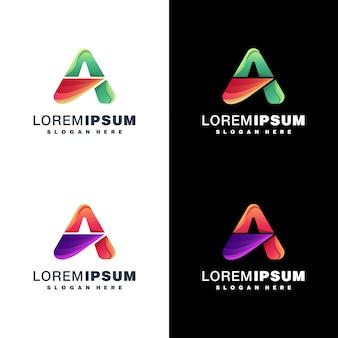 Letter a set logo coloré sur blanc et noir