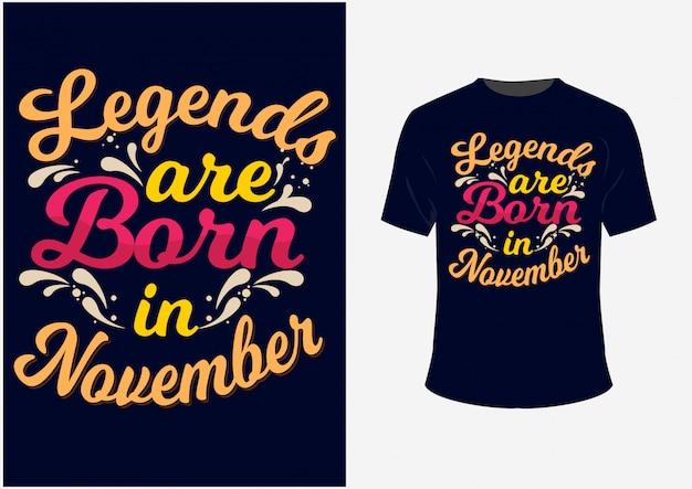 Lettering typography quote: des légendes naissent en septembre