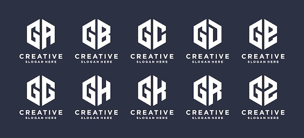 Lettermark g avec création de logo de forme hexagonale.