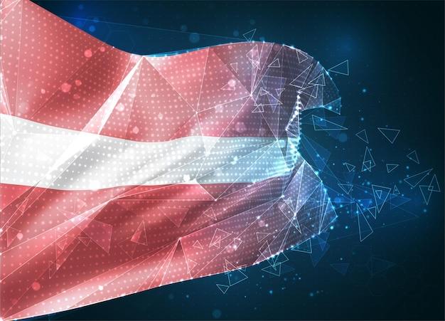 Lettonie, drapeau vectoriel, objet 3d abstrait virtuel à partir de polygones triangulaires sur fond bleu