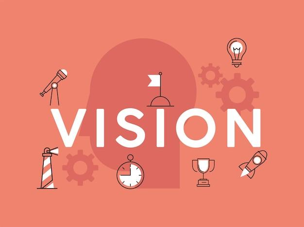 Lettrage D'affaires De Vision Vecteur Premium