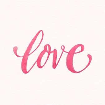 Lettrage d'amour à l'aquarelle
