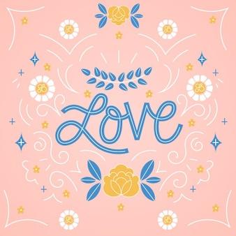 Lettrage d'amour coloré dans un style vintage