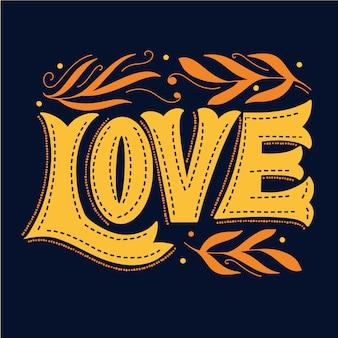 Lettrage d'amour et feuilles d'or