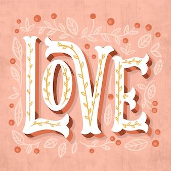 Lettrage d'amour avec des feuilles et des points
