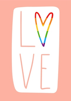 Lettrage d'amour avec fierté arc-en-ciel