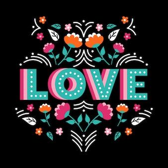 Lettrage d'amour avec des fleurs