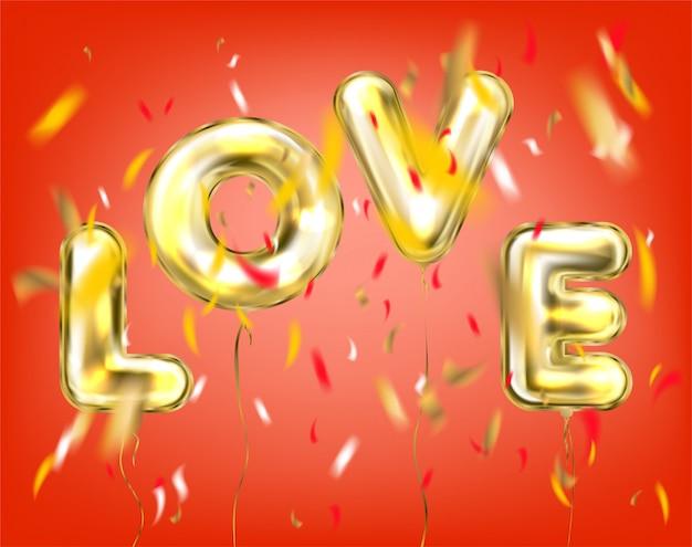 Lettrage d'amour par des ballons dorés en rouge