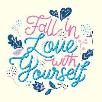Lettrage d'amour de soi avec des fleurs