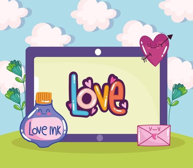 Lettrage d'amour de tablette