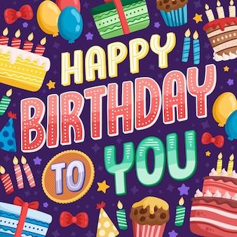 Lettrage d'anniversaire avec des éléments dessinés à la main