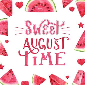 Lettrage d'août aquarelle peint à la main avec des fruits