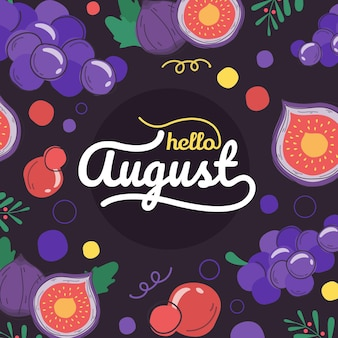 Lettrage d'août dessiné à la main avec des fruits