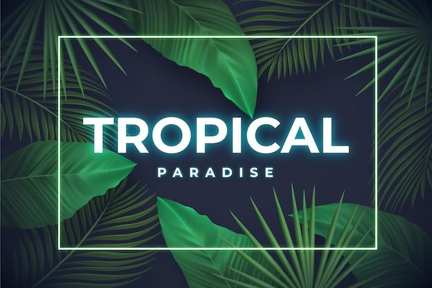 Lettrage au néon tropical avec des feuilles ou des fleurs