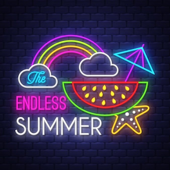 Lettrage au néon de vacances d'été sans fin