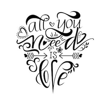 Lettrage au pinceau unique tout ce dont vous avez besoin est l'amour