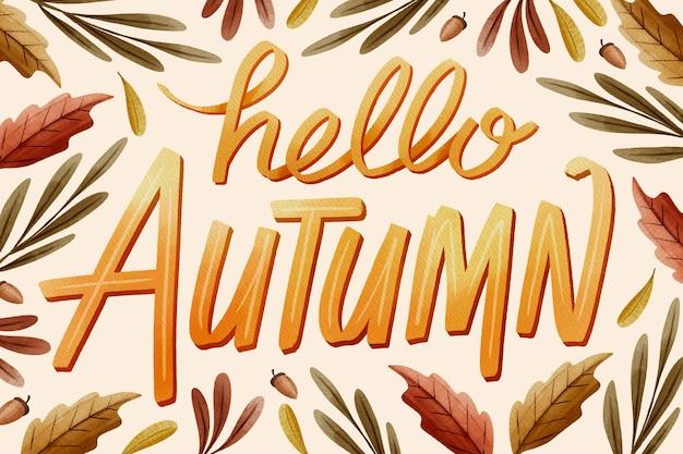 Lettrage d'automne aquarelle
