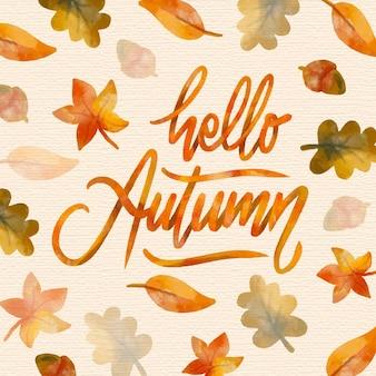 Lettrage d'automne bonjour aquarelle