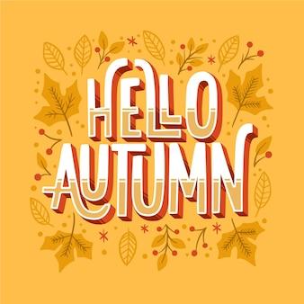 Lettrage d'automne créatif avec des feuilles