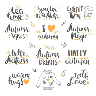 Lettrage d'automne et griffonnages lettrage de vecteur isolé sur fond blanc bonjour automne