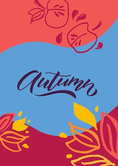 Lettrage d'automne illustration vectorielle de typographie icône d'automne et signature de bannière d'insigne ou d'affiche
