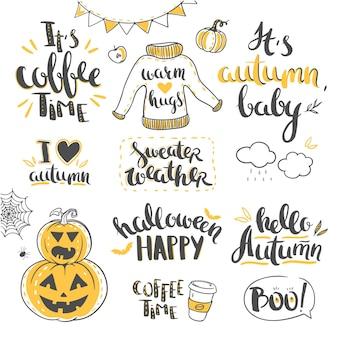 Lettrage d'automne isolé sur blanc lettrage de vecteur dessiné à la main pour les vacances et événements d'automne