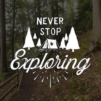 Lettrage d'aventure dessiné à la main avec photo