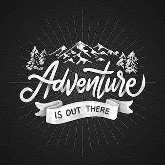 Lettrage d'aventure dessiné à la main