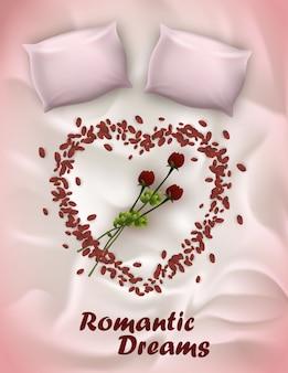 Lettrage de bannière verticale, rêves romantiques écrits