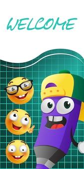 Lettrage de bienvenue avec le personnage de crayon de dessin animé et emojies