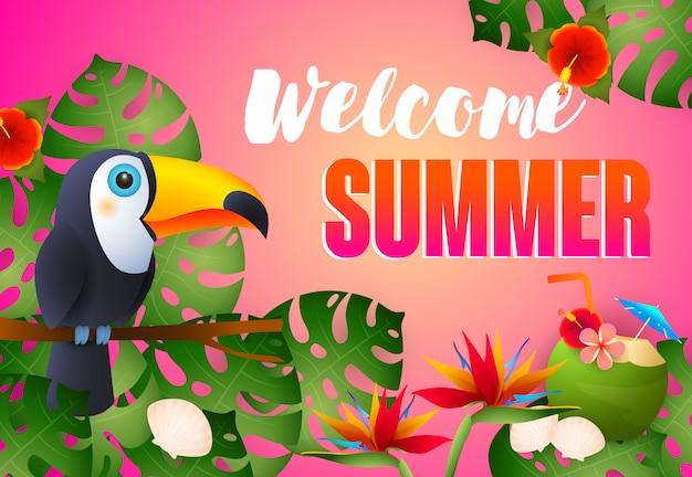 Lettrage de bienvenue pour l'été avec un oiseau exotique, des fleurs et un cocktail