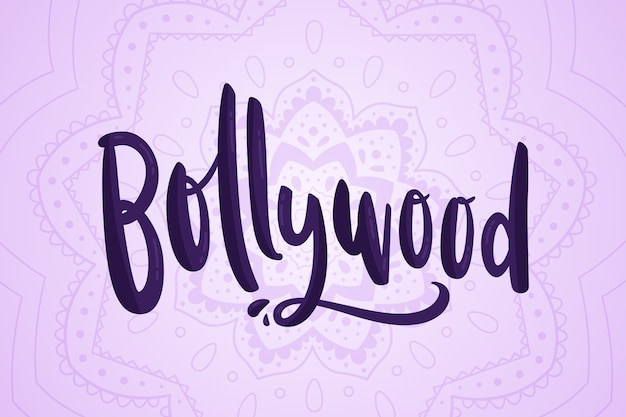 Lettrage de bollywood avec fond de mandala