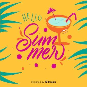 Lettrage bonjour fond d'été