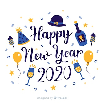 Lettrage de bonne année 2020 avec du champagne et des ballons