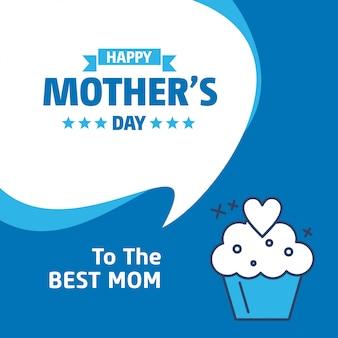Lettrage bonne fête des mères fond bleu