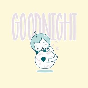 Lettrage de bonne nuit avec chat astronaute drôle