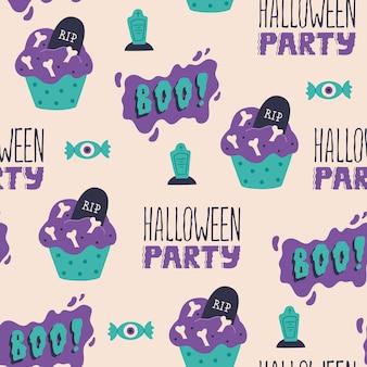 Lettrage boo moderne de fête d'halloween et cupcake effrayant avec motif squelette et grave sans couture. dessert effrayant mignon. papier peint textile de vecteur dans le style de dessin animé plat doodle. fond de vacances effrayant