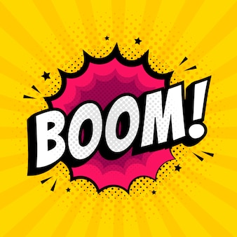 Lettrage boom effets sonores de texte comique.