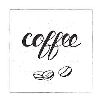 Lettrage de café et de haricots. illustration vectorielle