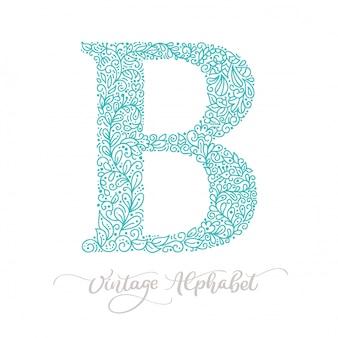 Lettrage de calligraphie lettre b dessiné à la main